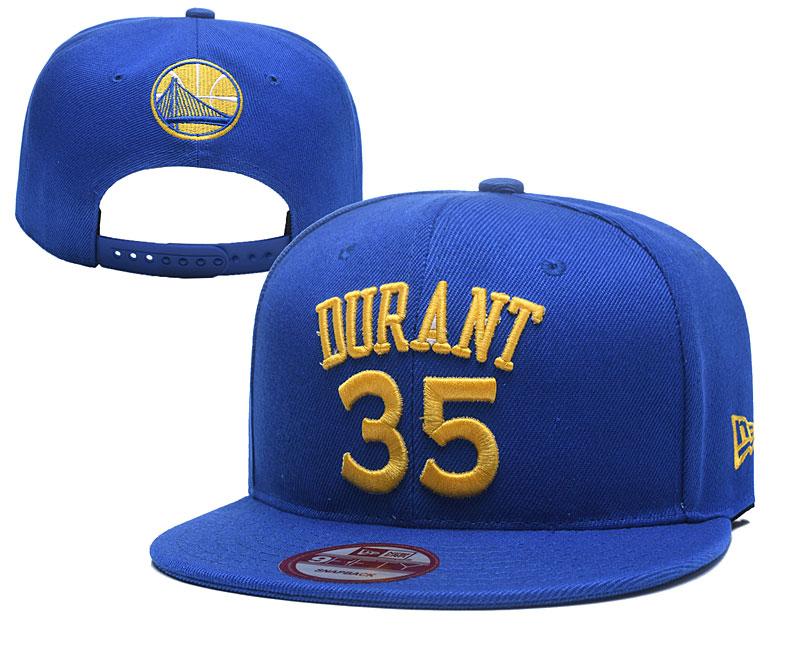 Warriors 35 Kevin Durant Blue Name & Number Adjustable Hat YD