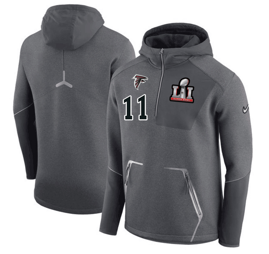 Atlanta Falcons 11 Julio Jones Nike 2017 Super Bowl LI Bound Team Half-Zip Performance Pullover Hoodie Gray