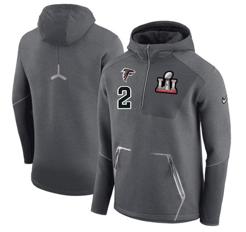 Atlanta Falcons 2 Matt Ryan Nike 2017 Super Bowl LI Bound Team Half-Zip Performance Pullover Hoodie Gray