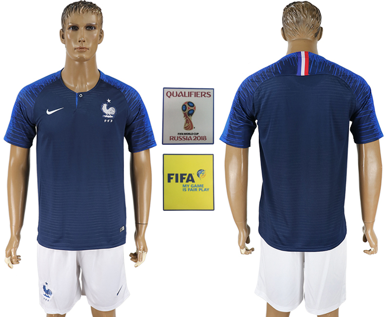 France Home 2018 FIFA World Cup Soccer Jersey