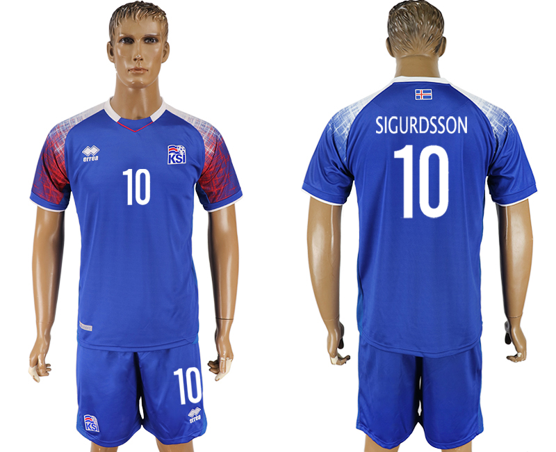 Iceland 10 SIGURDSSON Home 2018 FIFA World Cup Soccer Jersey
