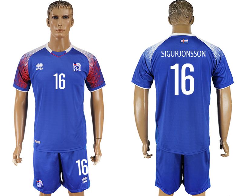 Iceland 16 SIGURJONSSON Home 2018 FIFA World Cup Soccer Jersey