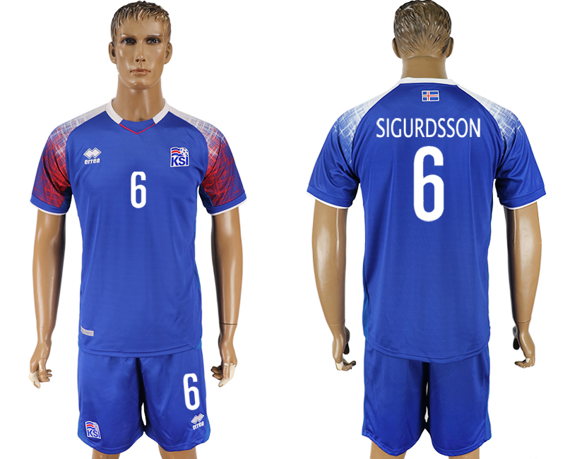 Iceland 6 SIGURDSSON Home 2018 FIFA World Cup Soccer Jersey