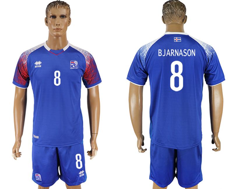 Iceland 8 BJARNASON Home 2018 FIFA World Cup Soccer Jersey