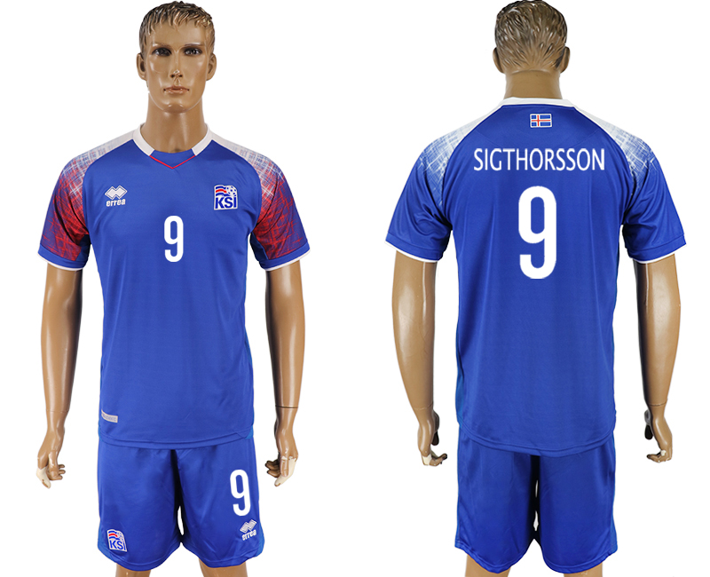 Iceland 9 SIGTHORSSON Home 2018 FIFA World Cup Soccer Jersey