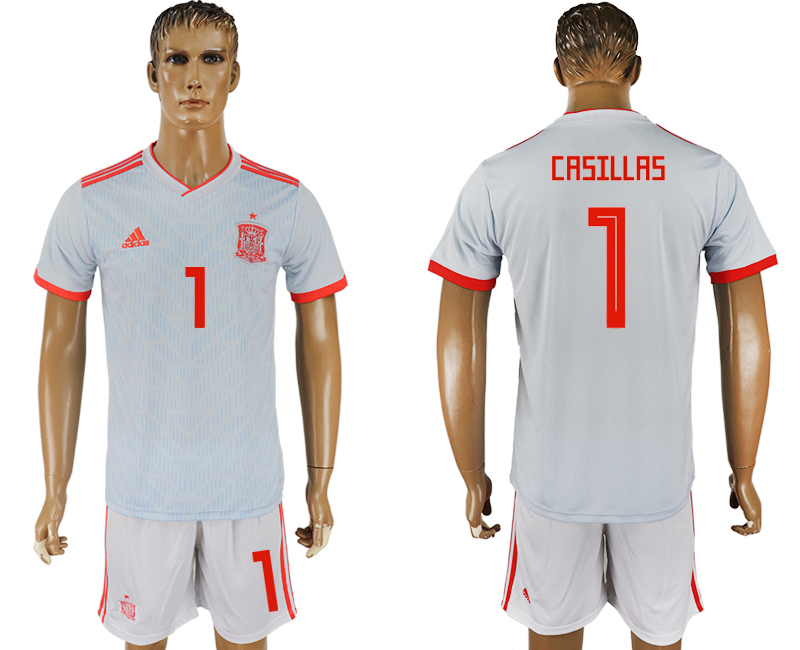 Spain 1 CRSILLRS Away 2018 FIFA World Cup Soccer Jersey