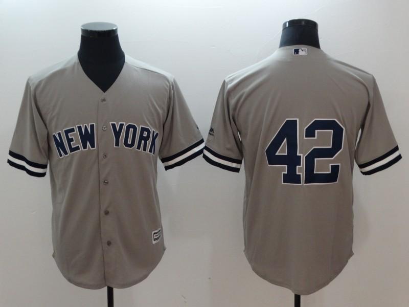 Yankees 42 Mariano Rivera Gray Cool Base Jersey