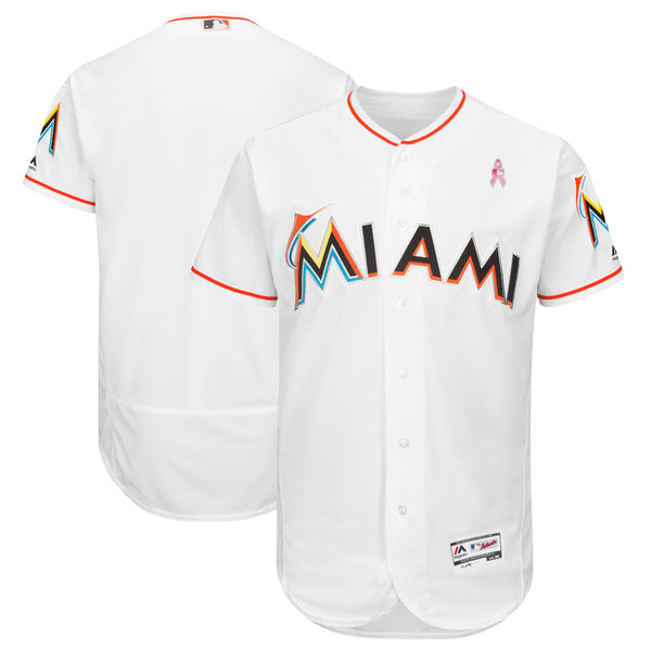 Marlins Blank White 2018 Mother's Day Flexbase Jersey