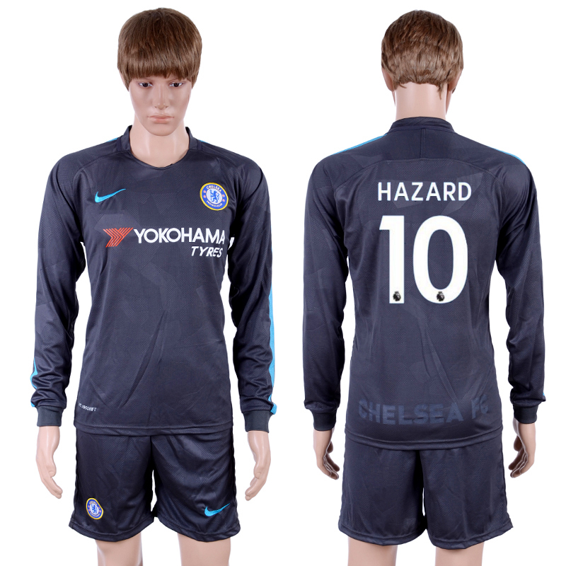 2017-18 Chelsea 10 HAZARD Third Away Long Sleeve Soccer Jersey