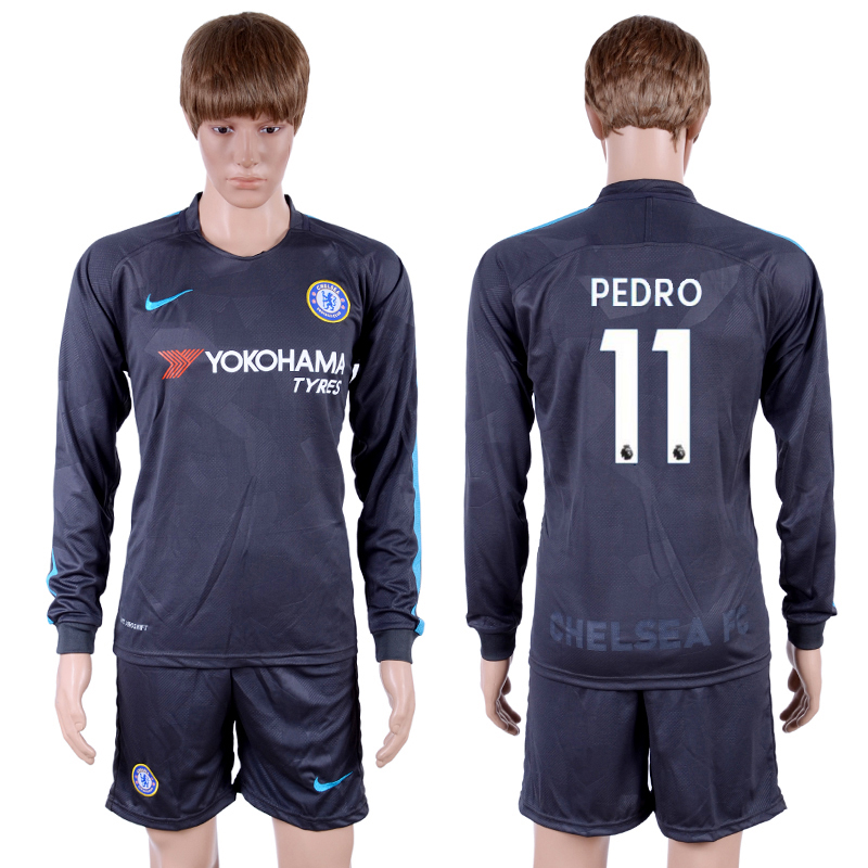 2017-18 Chelsea 11 PEDRO Third Away Long Sleeve Soccer Jersey