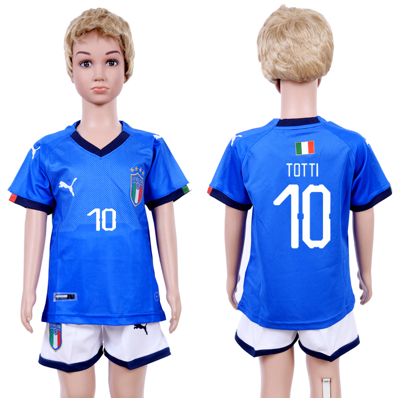 2018-19 Italy 10 TOTTI Home Youth Soccer Jersey