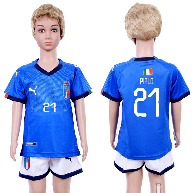 2018-19 Italy 21 PIRLO Home Youth Soccer Jersey
