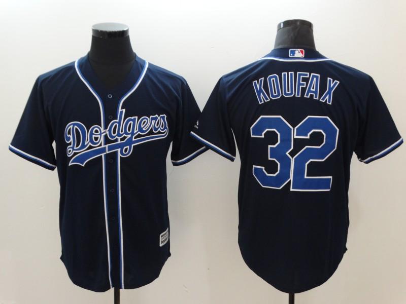 Dodgers 32 Sandy Koufax Navy Cool Base Jersey