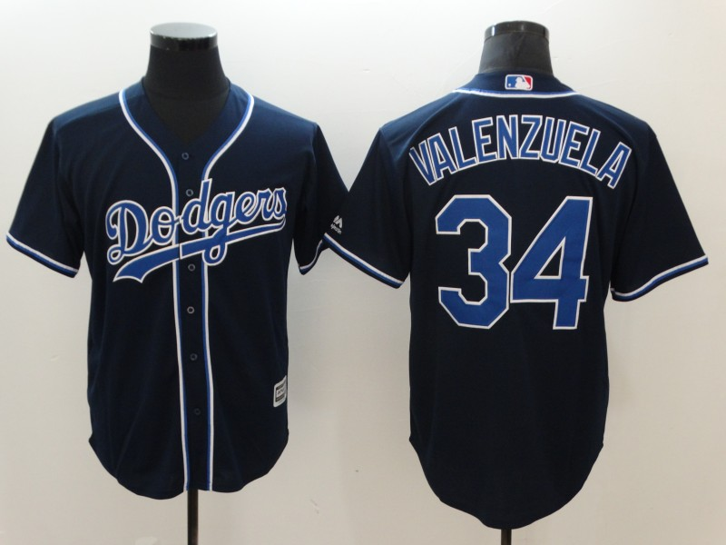 Dodgers 34 Fernando Valenzuela Navy Cool Base Jersey
