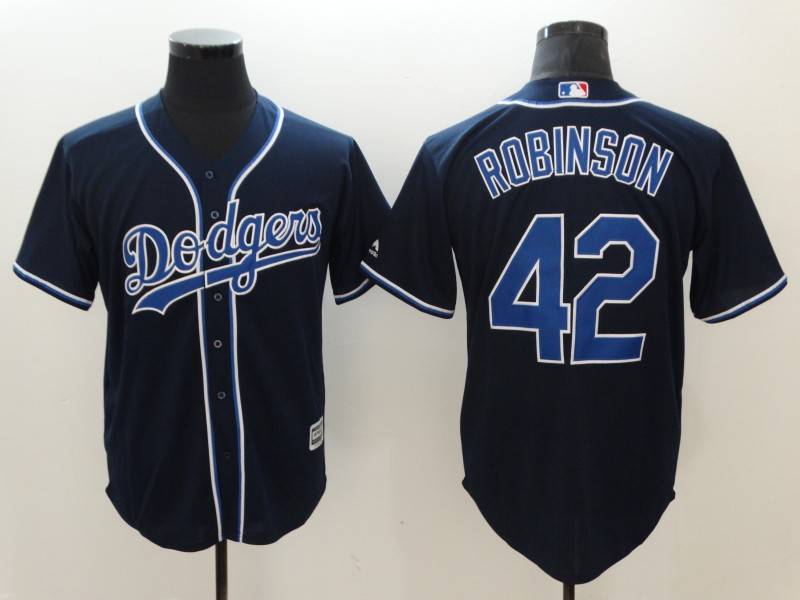 Dodgers 42 Jackie Robinson Navy Cool Base Jersey