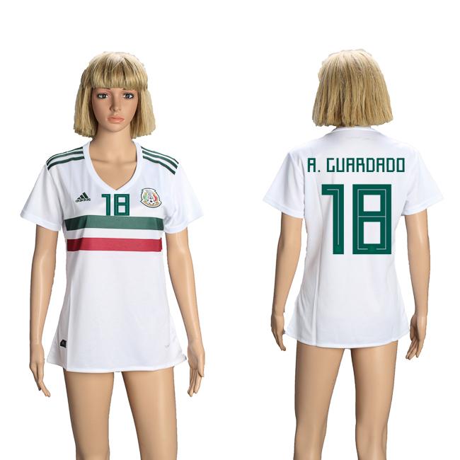 Mexico 18 A. GUARDADO Away Women 2018 FIFA World Cup Soccer Jersey