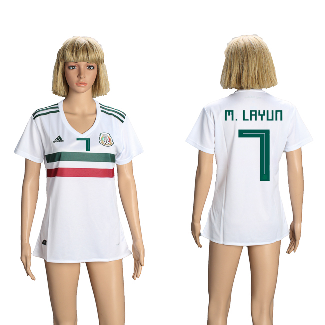 Mexico 7 M. LAYUN Away Women 2018 FIFA World Cup Soccer Jersey