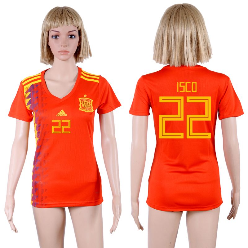 Spain 22 ISCO Home Women 2018 FIFA World Cup Soccer Jersey