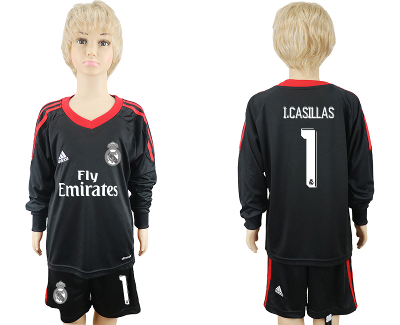 2017-18 Real Madrid 1 I.CASILLAS Black Youth Goalkeeper Long Sleeve Soccer Jersey