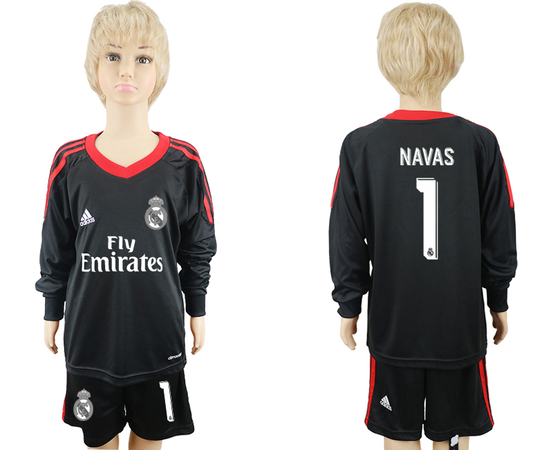 2017-18 Real Madrid 1 NAVAS Black Youth Goalkeeper Long Sleeve Soccer Jersey