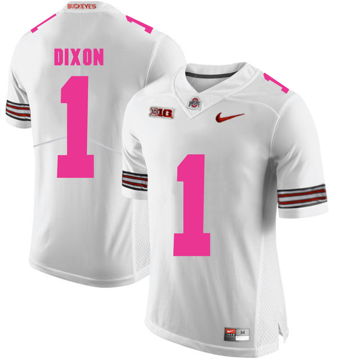 Ohio State Buckeyes 1 Johnnie Dixon White 2018 Breast Cancer Awareness College Football Jersey