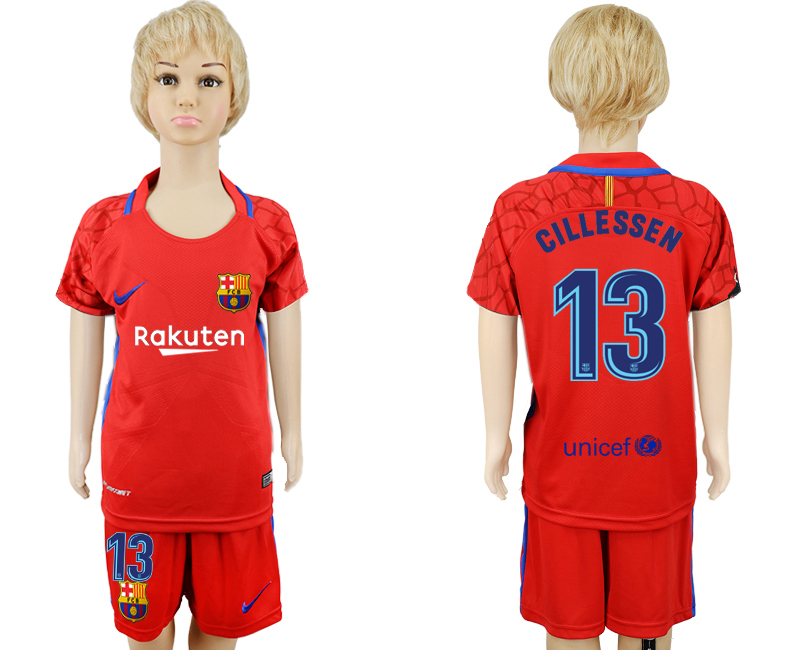 2017-18 Barcelona 13 CILLESSEN Red Goalkeeper Youth Soccer Jersey