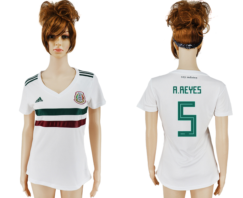 Mexico 5 A.REYES Away Women 2018 FIFA World Cup Soccer Jersey