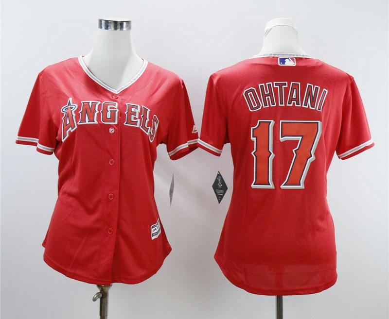 Angels 17 Shohei Ohtani Red Women Cool Base Jersey