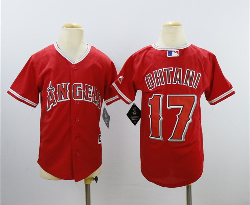 Angels 17 Shohei Ohtani Red Youth Cool Base Jersey