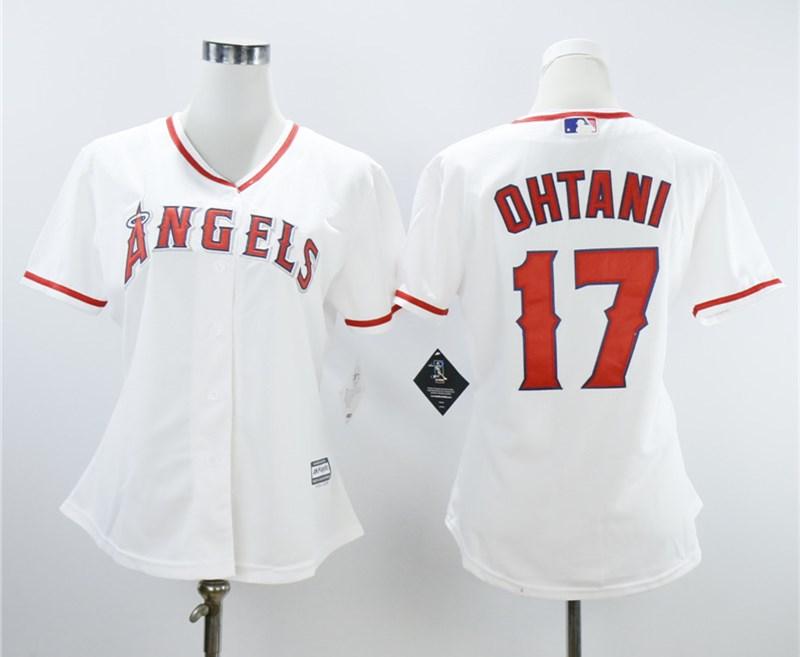 Angels 17 Shohei Ohtani White Women Cool Base Jersey