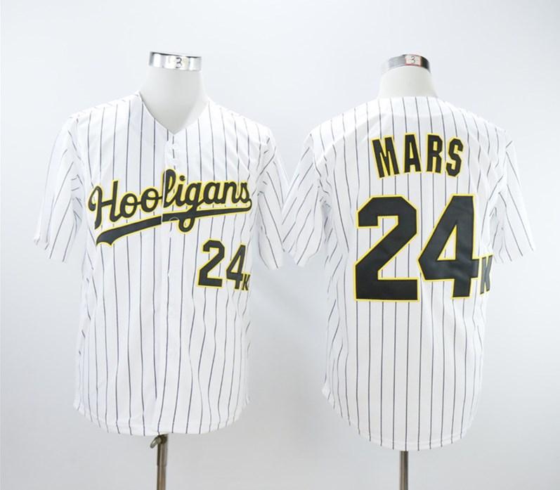 Hooligans 24K Bruno Mars White Baseball Jersey