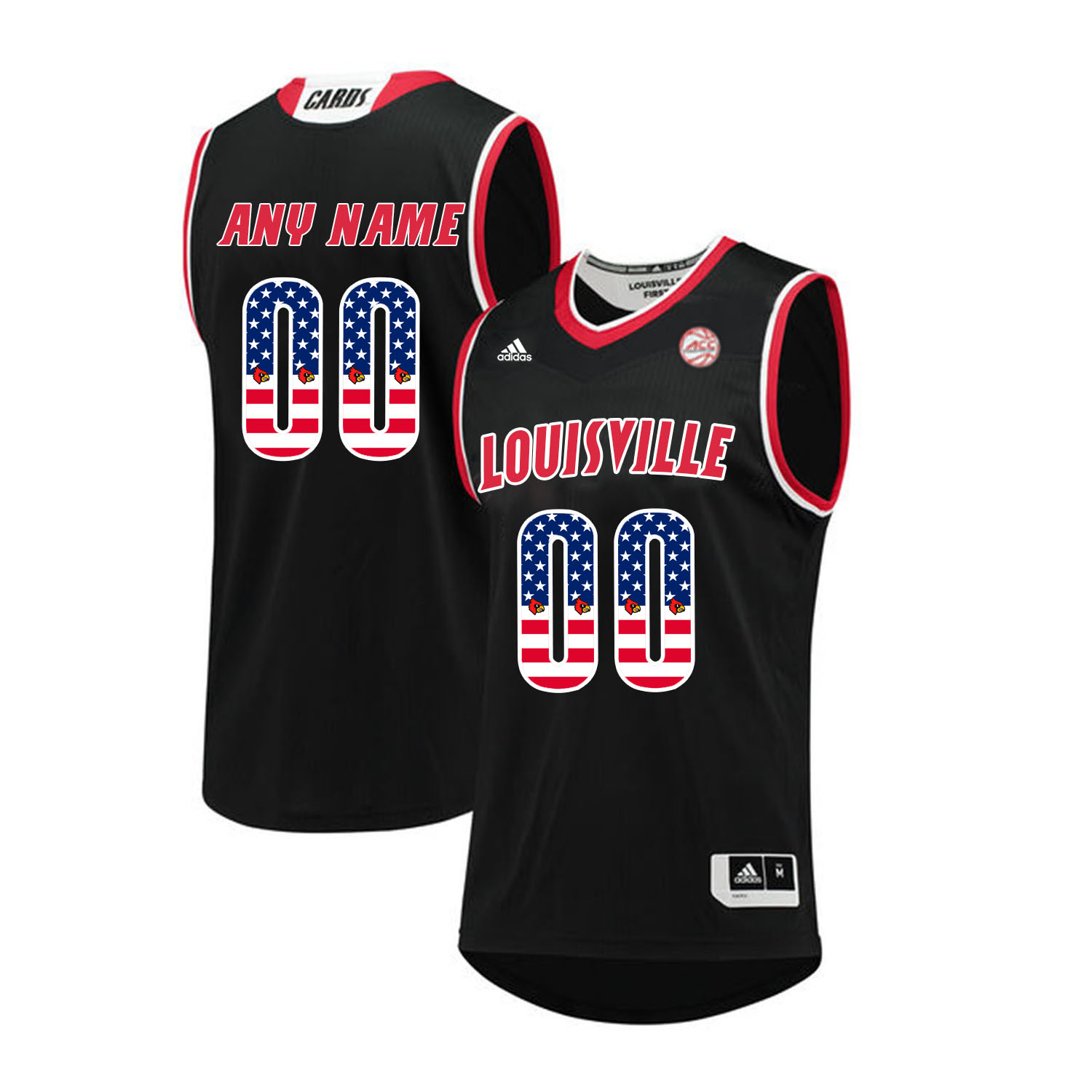 Louisville Cardinals Customized Black USA Flag College Basketball Jersey