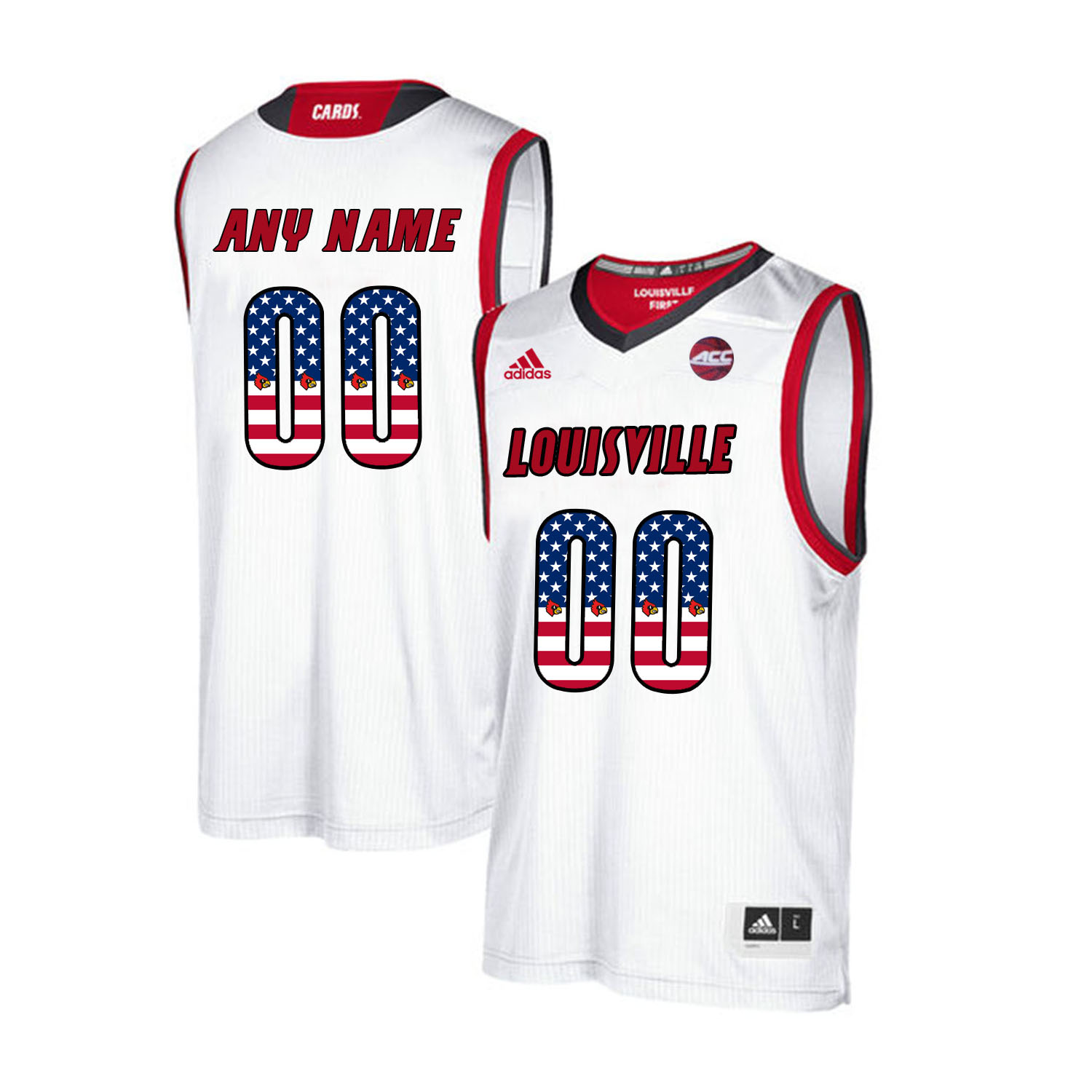 Louisville Cardinals Customized White USA Flag College Basketball Jersey
