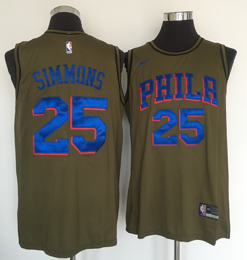 76ers 25 Ben Simmons Olive Nike Swingman Jersey