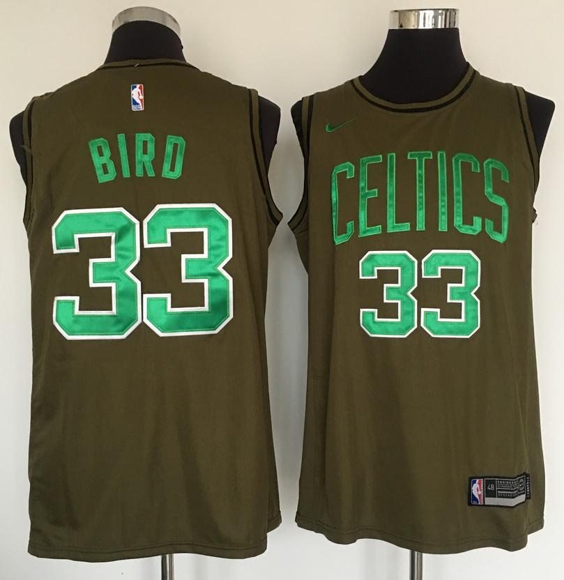 Celtics 33 Larry Bird Olive Nike Swingman Jersey