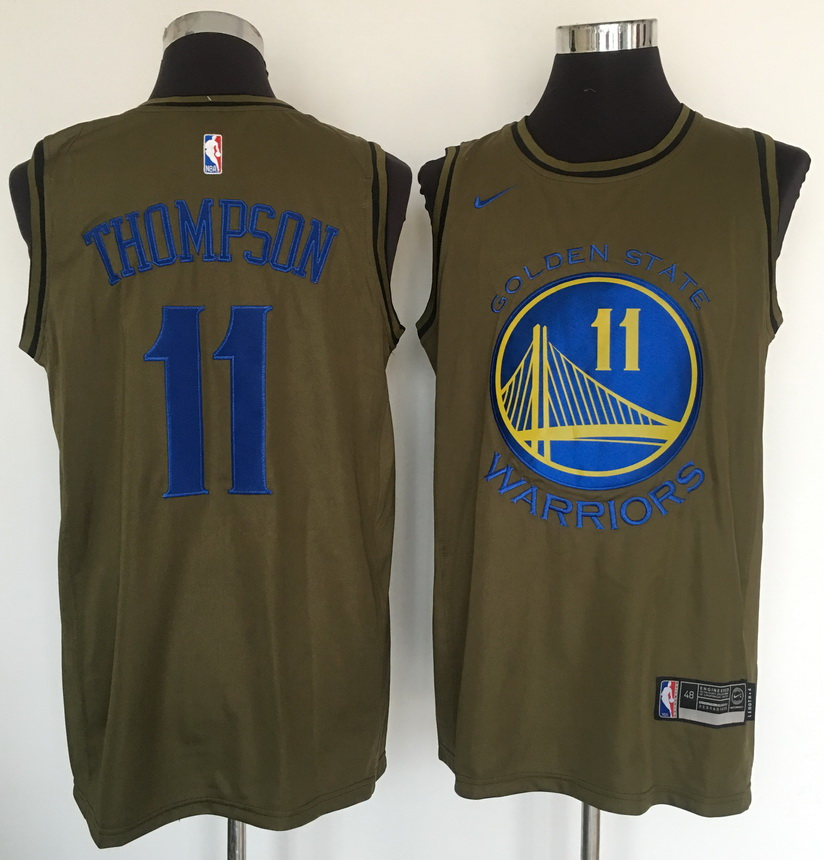 Warriors 11 Klay Thompson Olive Nike Swingman Jersey