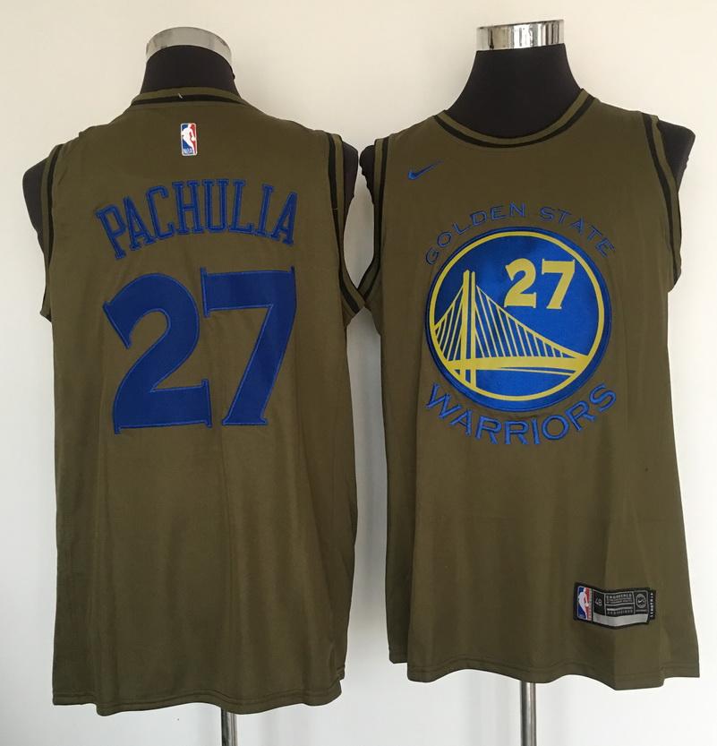 Warriors 27 Zaza Pachulia Olive Nike Swingman Jersey