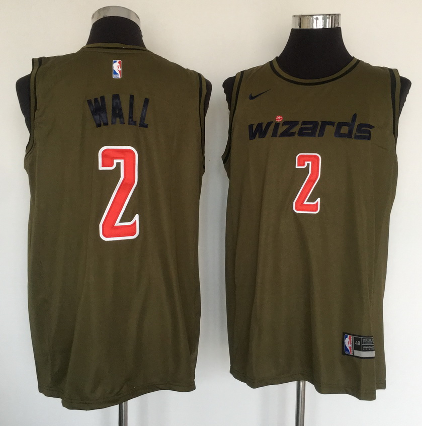Wizards 2 John Wall Olive Nike Swingman Jersey