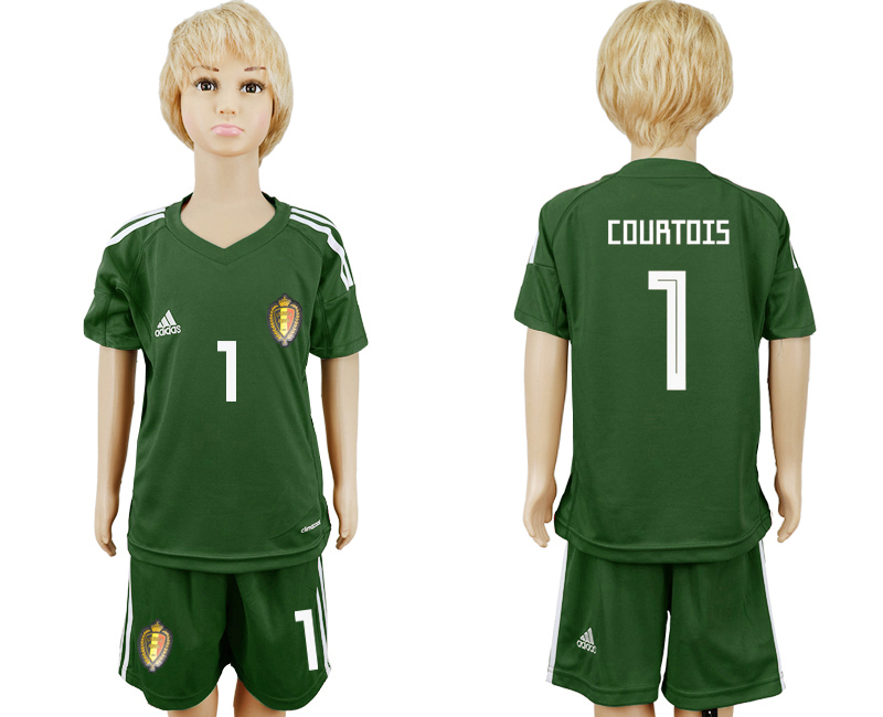 Belgium 1 COURTOIS Army Green Goalkeeper Youth 2018 FIFA World Cup Soccer Jersey