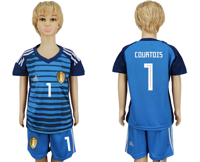 Belgium 1 COURTOIS Goalkeeper Youth 2018 FIFA World Cup Soccer Jersey