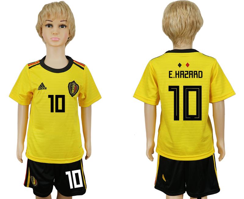 Belgium 10 E.HAZARD Away Youth 2018 FIFA World Cup Soccer Jersey