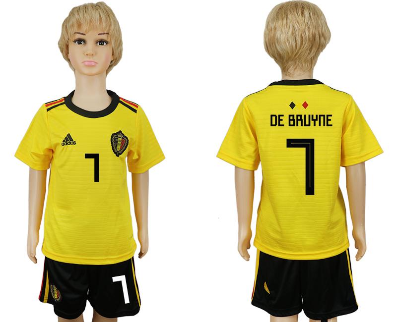 Belgium 7 DE BRUYNE Away Youth 2018 FIFA World Cup Soccer Jersey