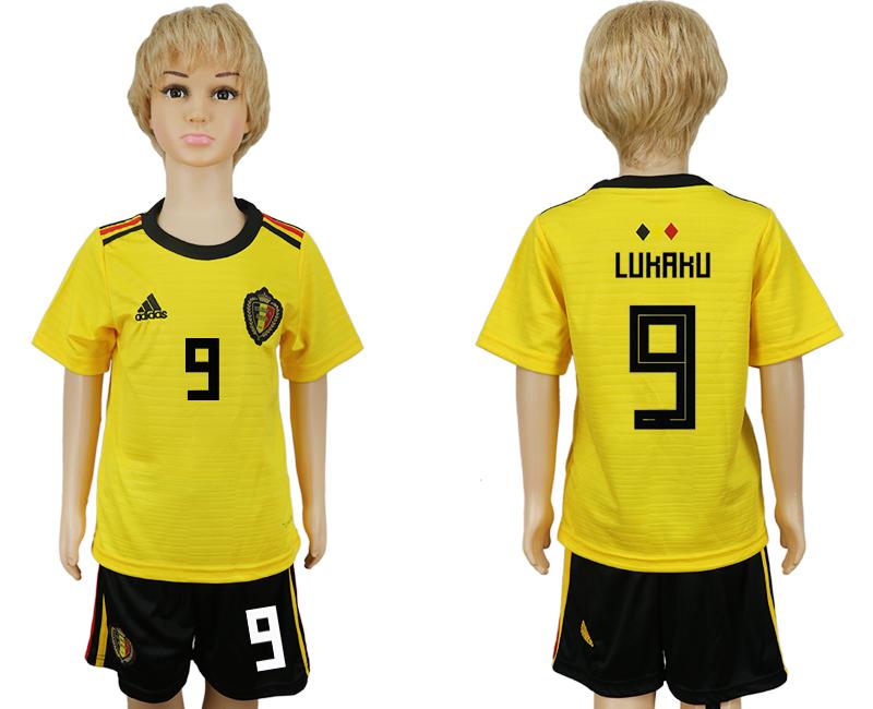 Belgium 9 LUKAKU Away Youth 2018 FIFA World Cup Soccer Jersey