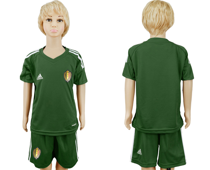 Belgium Army Green Goalkeeper Youth 2018 FIFA World Cup Soccer Jersey