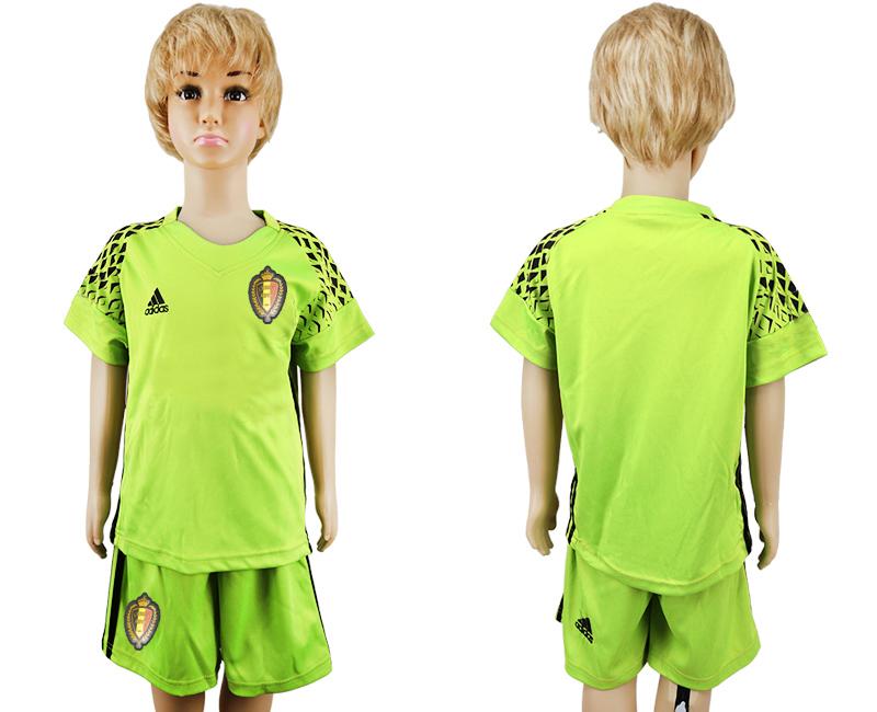 Belgium Fluorescent Green Goalkeeper Youth 2018 FIFA World Cup Soccer Jersey