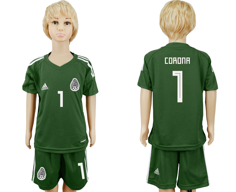 Mexico 1 CORONA Army Green Goalkeeper Youth 2018 FIFA World Cup Soccer Jersey