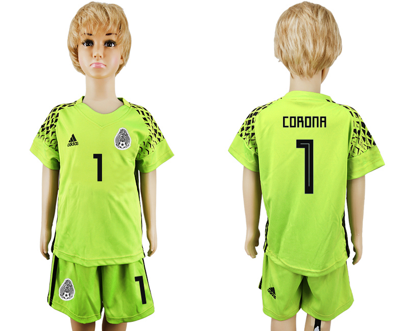 Mexico 1 CORONA Fluorescent Green Goalkeeper Youth 2018 FIFA World Cup Soccer Jersey