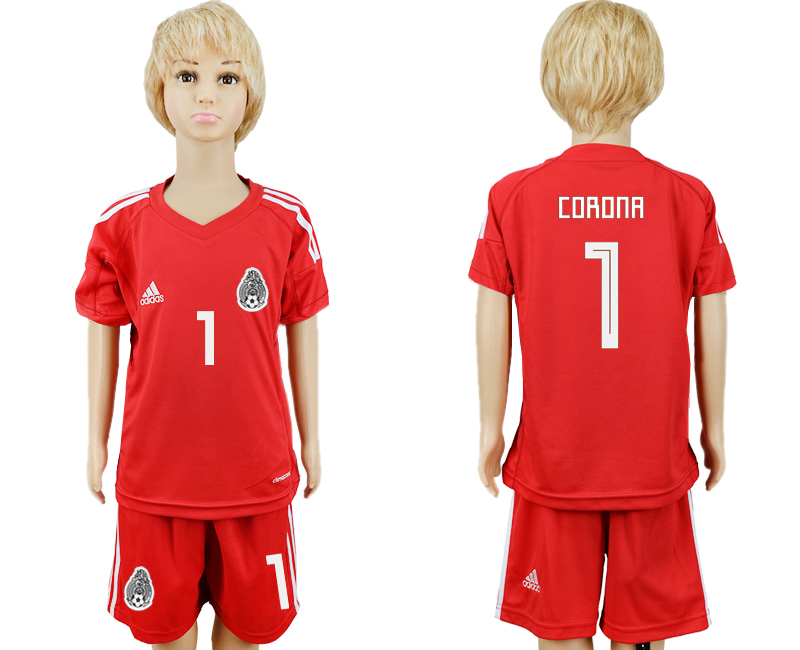 Mexico 1 CORONA Red Goalkeeper Youth 2018 FIFA World Cup Soccer Jersey