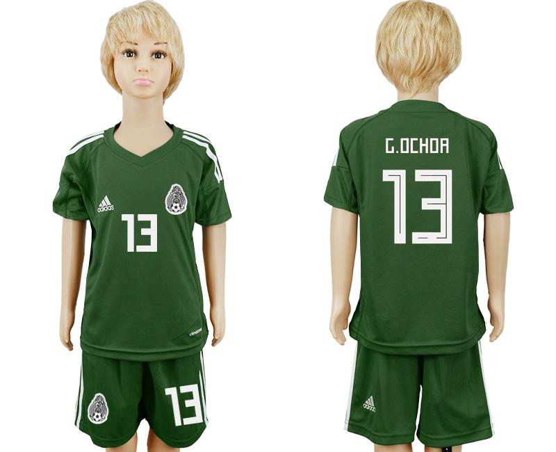 Mexico 13 G.OCHOA Army Green Goalkeeper Youth 2018 FIFA World Cup Soccer Jersey