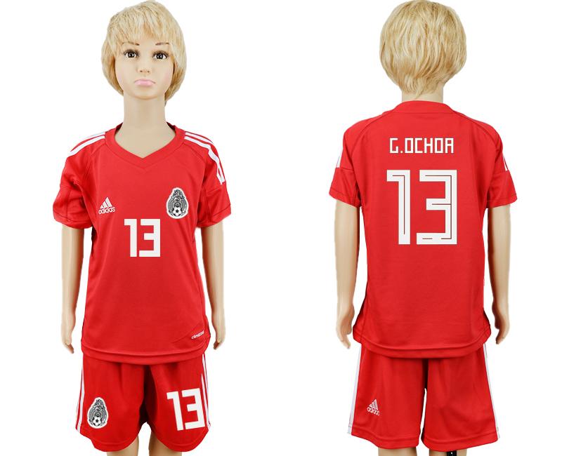 Mexico 13 G.OCHOA Red Goalkeeper Youth 2018 FIFA World Cup Soccer Jersey